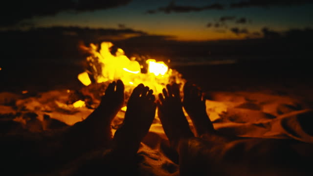 Friends Warming Feet by the Fire video