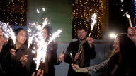 SLOW MOTION: Friends with sparklers dancing video