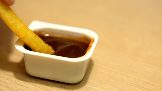 Fries dipped in ketchup video