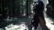 Frightened Young Woman Walk In The Forest video