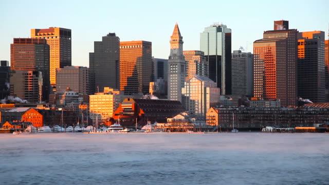 Frigid Arctic sea smoke on the Boston Harbor video