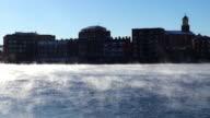 Frigid Arctic sea smoke on the Piscataqua River in Portsmouth video