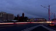 From day to night city traffic. Zoom out, time-lapse shot video