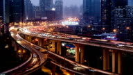 From dusk to night, aerial view of highway and traffic of Shanghai, China video
