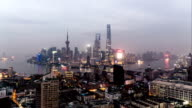 From dusk to night, aerial view of the skyline of Shanghai, China video
