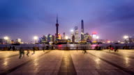 From dusk to night,the visitors at the Bund in Shanghai, China video