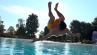 HD SUPER SLOW-MO: Front Flip In The Pool video