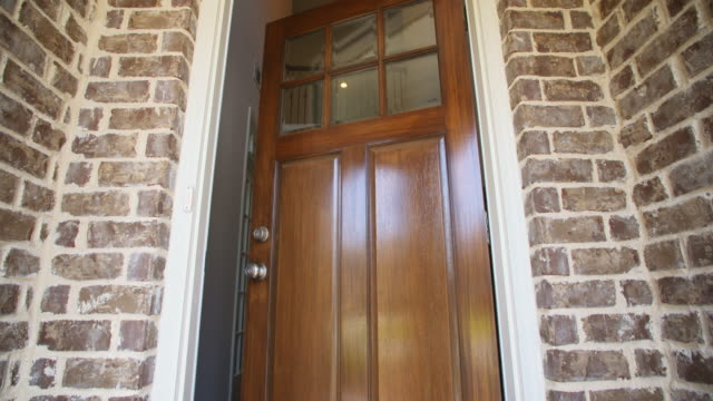 Front Home Entrance Low Angle Door Open Rise Up video
