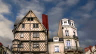 Front of the House of Adam, old half-timbered house in the city of Angers, France video