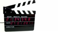 Front view on electronic clapboard, time lapse video