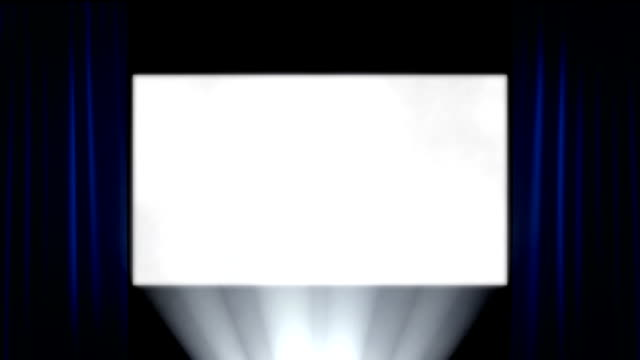 Front-on Cinema Screen with Projector Light Blue Curtains video