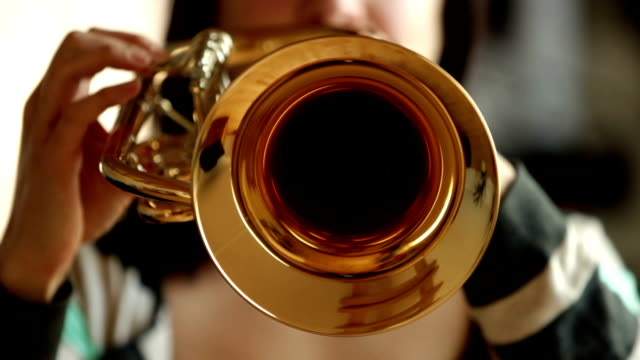 front-view of woman playing Flugelhorn / Trumpet video