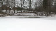 Frozen Pond With Fountain 1 video