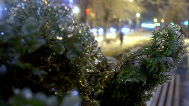 Frozen rain in European city video