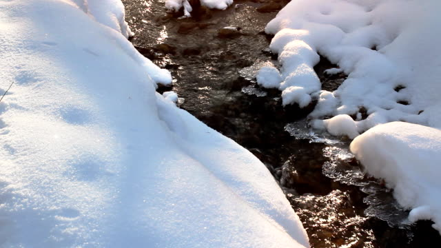 Frozen water in the stream, beautiful winter. video