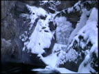 Frozen Waterfall.  Tilt Down from Trees to Water video