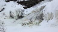 Frozen waterfalls in Winter, Huron Village, Quebec, Canada video