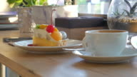 Fruit Cake mixed for relax time at cake shop , 4k(UHD) video