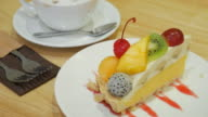 Fruit Cake mixed with coffee for relax time , 4k(UHD) video