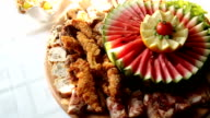 Fruit carvings on the buffet table video