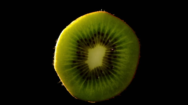 Fruit Kiwi Healthy slowly rotating with black background video
