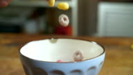Fruit Loops Falling into Bowl video