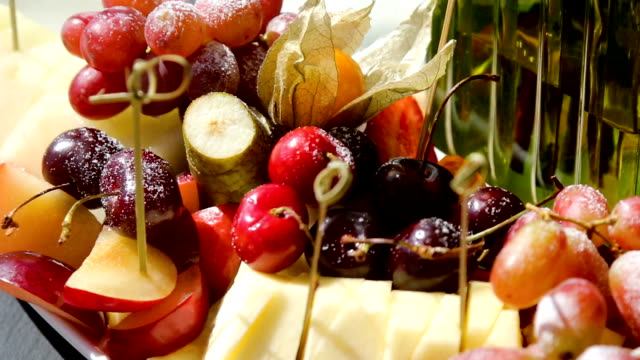 fruit on table grape pear cherry video