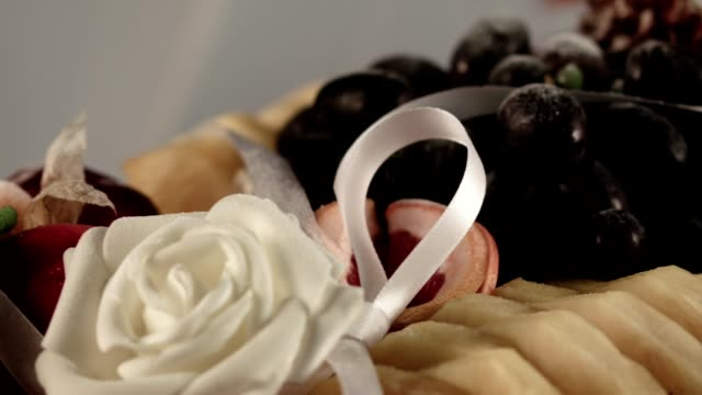 Fruit plate decorated with ribbons and Marzipan roses video