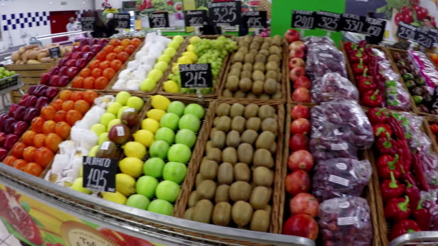 Fruits and vegetables at supermarket video