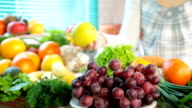Fruits and vegetables in kitchen video