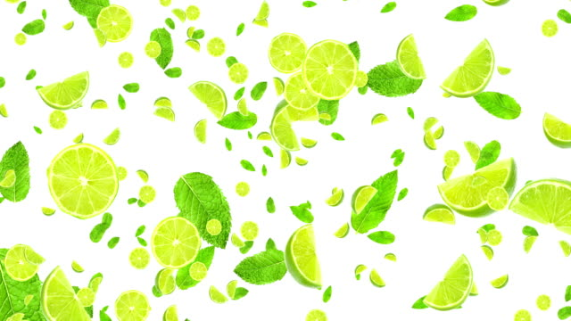 fruits citrus lime slices and mint leaf flying on white background, loop seamless. Cocktail mojito ingredients, party concept video