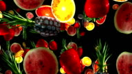 Fruits on a black background. 3D video
