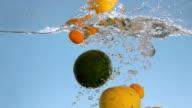 Fruits Splashing Into Water video