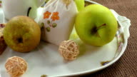 Fruity breakfast and cake on a white plate video