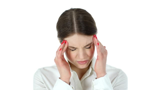 Frustrated Tense Businesswoman, White Background video