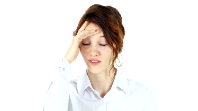 Frustrated Tense Woman, White Background video