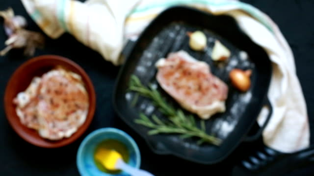 Frying pan with meat. Delicious duck steak with spices. Simple recipe of tasty meat. video