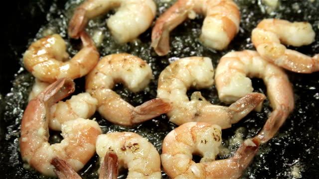 Frying shrimps video