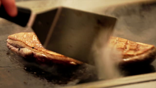 Frying sirloin steak video