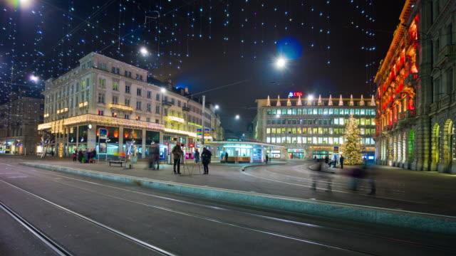 fswitzerland amous holiday night illumination zurich tram traffic bahnhofstrasse panorama 4k time lapse video