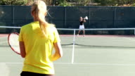 Full court tennis game in slow motion video