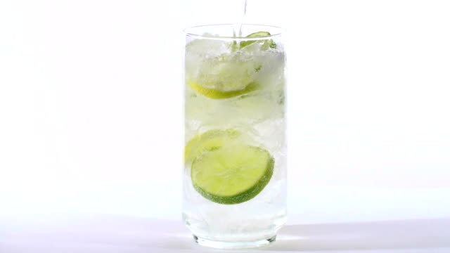 Full glass of lemon soda - HD video