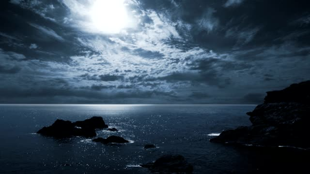 Full moon night seascape. video