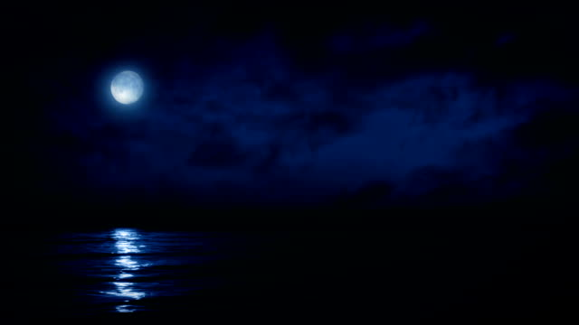 Full Moon Reflecting On Sea At Night video