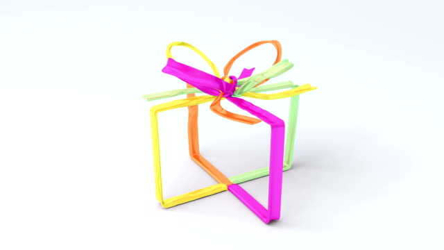 Full of color tying bows in gift box shape on bright background. video