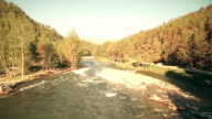 FullHD FHD aerial view. Low flight over fresh cold mountain river at sunny summer morning video
