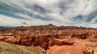 FullHD TimeLapse. Charyn grand canyon at overcast sky in Kazakhstan video