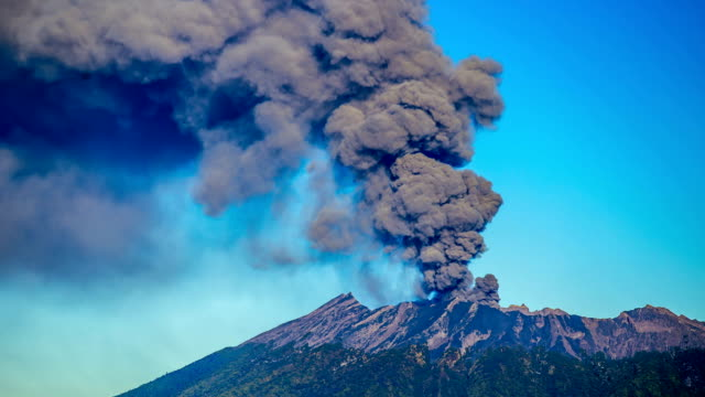 FullHD Timelapse. Eruptions Raung volcano, camera close up. East Java, Indonesia - 25 July 2015 video