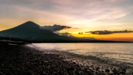 FullHD Timelapse. Sunset on the ocean and the volcano Gunung Agung. 15 July 2015, Bali, Indonesia video