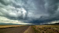 FullHD TimeLapse. Thunderstorm storm in the desert along the road video